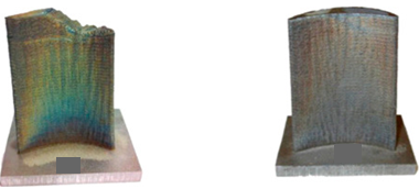 Damaged blade tip (left). Repaired blade tip with AM (right). Image courtesy: MDPI