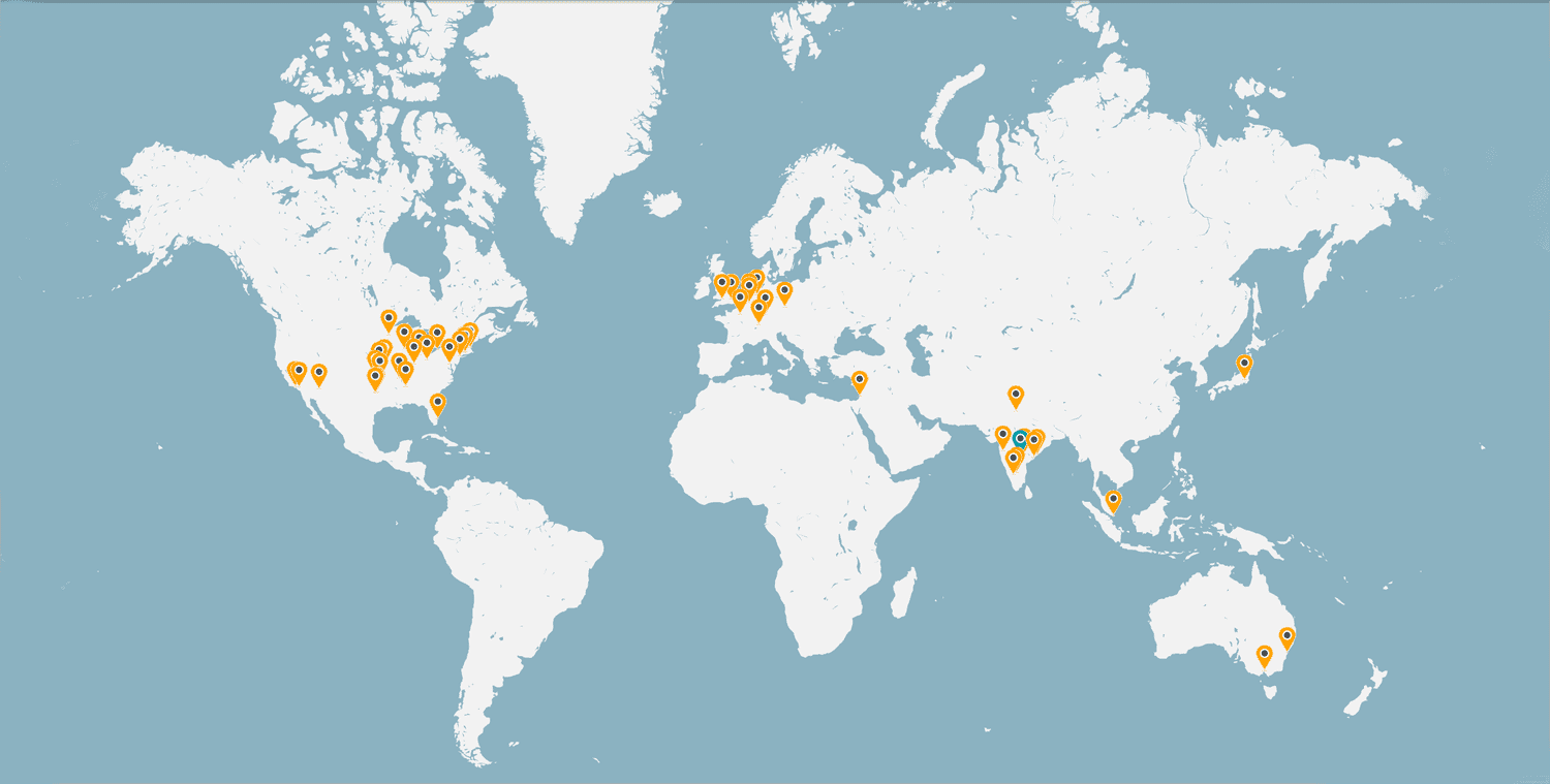 Google Maps - Footprints of Various Countries